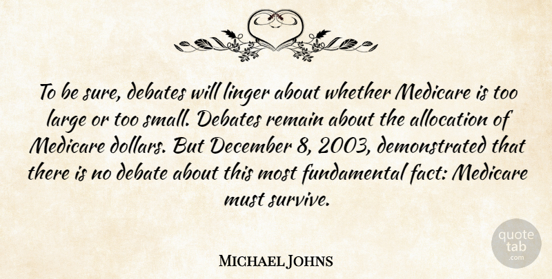 Michael Johns Quote About Debates, December, Large, Linger, Medicare: To Be Sure Debates Will...