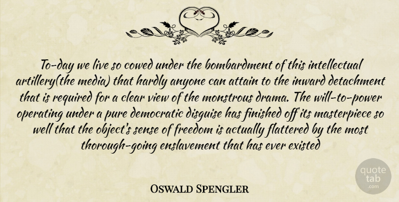 Oswald Spengler Quote About Drama, Views, Media: To Day We Live So...