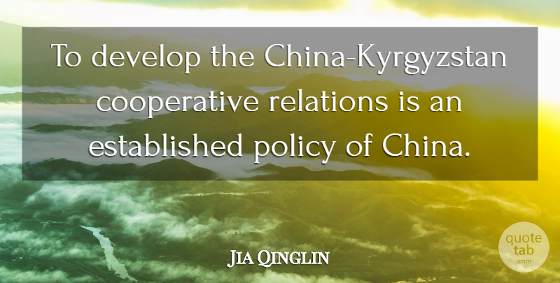 Jia Qinglin Quote About Develop, Policy, Relations: To Develop The China Kyrgyzstan...