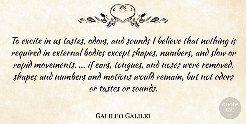 Galileo Galilei Quote About Believe, Numbers, Odor: To Excite In Us Tastes...