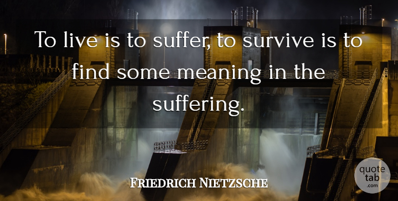 Friedrich Nietzsche To Live Is To Suffer To Survive Is To Find
