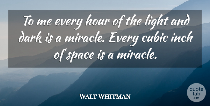 Walt Whitman Quote About Dark, Hour, Inch, Light, Space: To Me Every Hour Of...