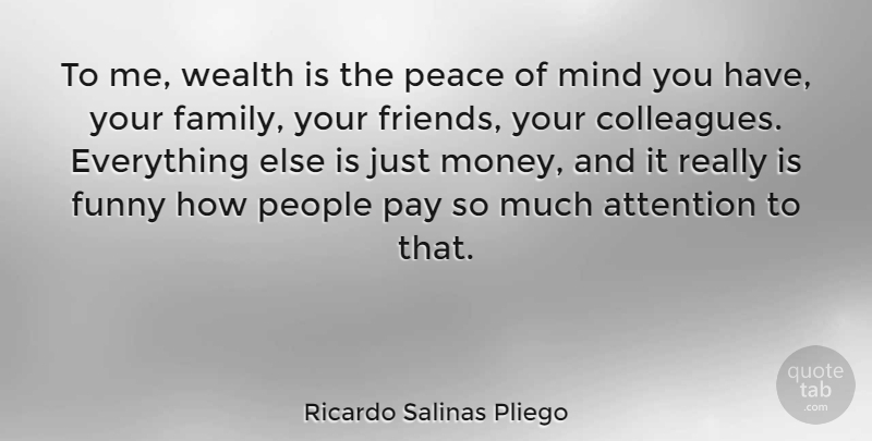 Ricardo Salinas Pliego Quote About Attention, Family, Funny, Mind, Money: To Me Wealth Is The...