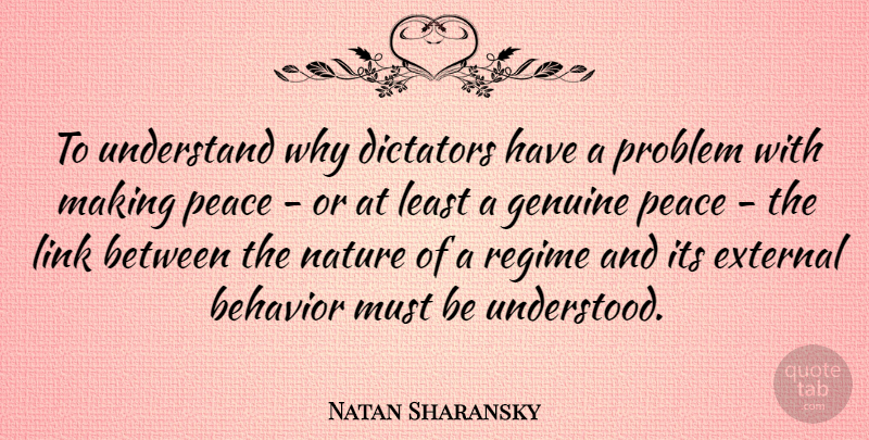 Natan Sharansky Quote About Links, Dictator, Problem: To Understand Why Dictators Have...