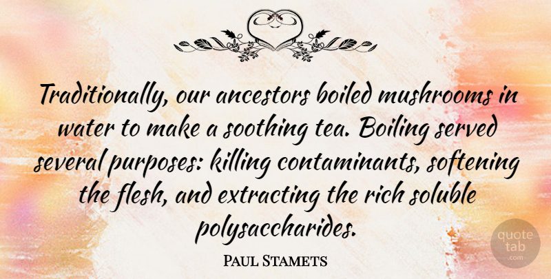 Paul Stamets Quote About Ancestors, Boiling, Mushrooms, Served, Several: Traditionally Our Ancestors Boiled Mushrooms...