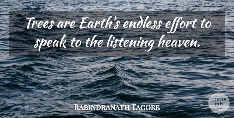 Rabindranath Tagore Quote About Endless, Speak: Trees Are Earths Endless Effort...