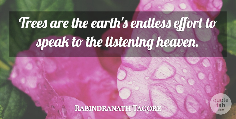 Rabindranath Tagore Quote About Love, God, Spiritual: Trees Are The Earths Endless...
