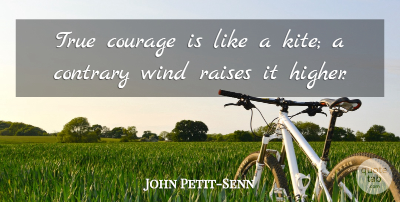 John Petit-Senn Quote About Contrary, Courage, Raises, True, Wind: True Courage Is Like A...