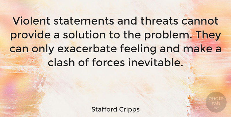 Stafford Cripps: Violent Statements And Threats Cannot
