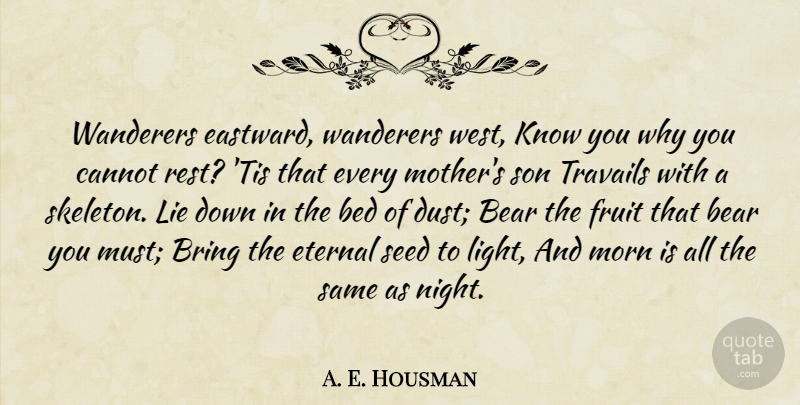 A. E. Housman Quote About Mother, Lying, Son: Wanderers Eastward Wanderers West Know...