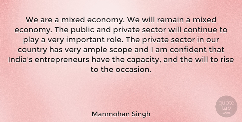 Manmohan Singh Quote About Country, Play, Entrepreneur: We Are A Mixed Economy...