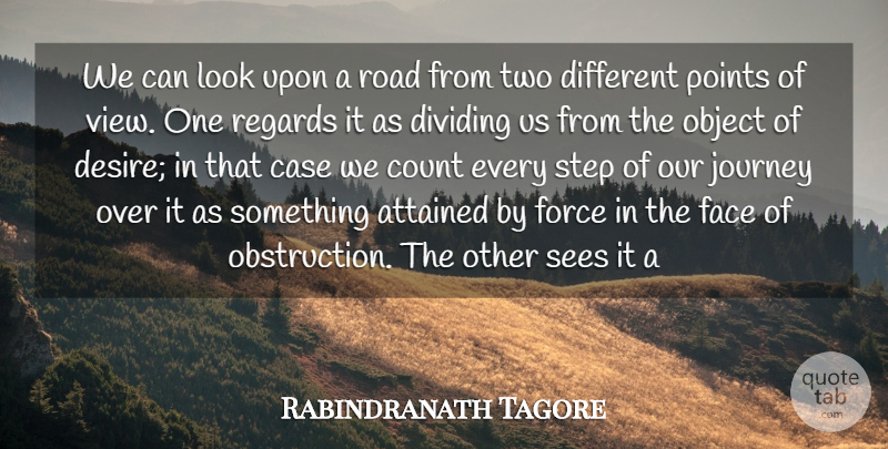 Rabindranath Tagore Quote About Attained, Case, Count, Dividing, Face: We Can Look Upon A...