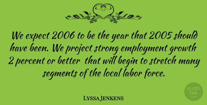 Lyssa Jenkens Quote About Begin, Employment, Expect, Growth, Labor: We Expect 2006 To Be...