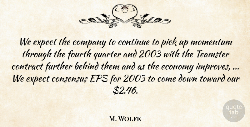 M. Wolfe Quote About Behind, Company, Consensus, Continue, Contract: We Expect The Company To...