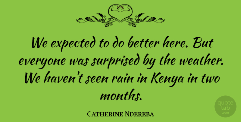 Catherine Ndereba Quote About Expected, Kenya, Rain, Seen, Surprised: We Expected To Do Better...