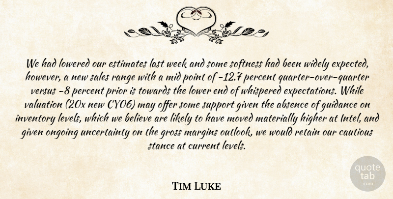 Tim Luke Quote About Absence, Believe, Cautious, Current, Estimates: We Had Lowered Our Estimates...