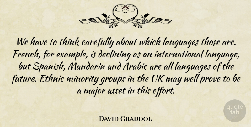 David Graddol Quote About Arabic, Asset, Carefully, Declining, Ethnic: We Have To Think Carefully...
