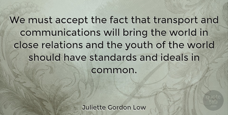 Juliette Gordon Low Quote About Communication, Should Have, World: We Must Accept The Fact...