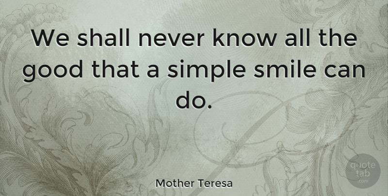 Mother Teresa Quote About Inspirational, Smile, Kindness: We Shall Never Know All...