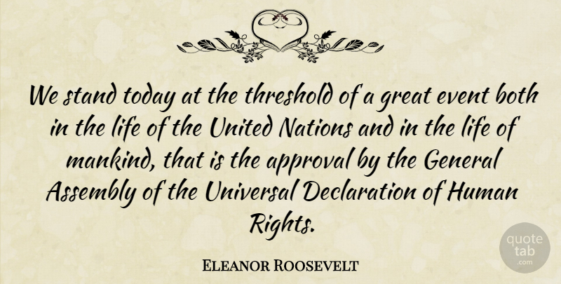 Eleanor Roosevelt Quote About Rights, Events, Today: We Stand Today At The...