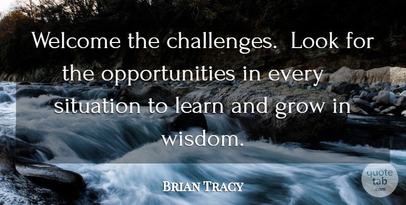 Brian Tracy Quote About Success, Opportunity, Challenges: Welcome The Challenges Look For...