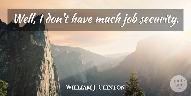 William J. Clinton Quote About Jobs, Wells, Security: Well I Dont Have Much...