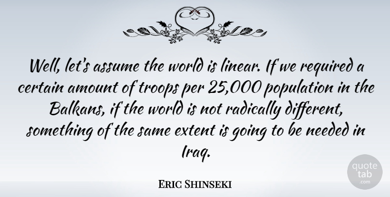 Eric Shinseki Quote About American Soldier, Amount, Assume, Certain, Extent: Well Lets Assume The World...