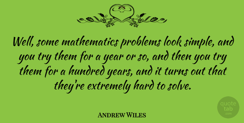 Andrew Wiles Quote About English Mathematician, Extremely, Hard, Hundred, Mathematics: Well Some Mathematics Problems Look...