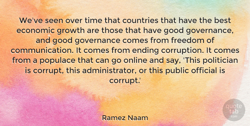 Ramez Naam Quote About Best, Countries, Economic, Ending, Freedom: Weve Seen Over Time That...