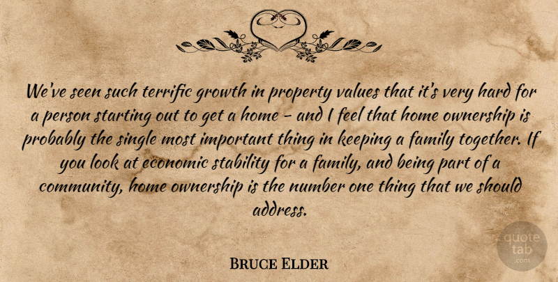 Bruce Elder Quote About Economic, Family, Growth, Hard, Home: Weve Seen Such Terrific Growth...