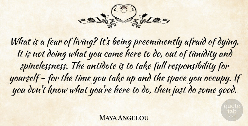 Maya Angelou Quote About Positive, Responsibility, Occupy Yourself: What Is A Fear Of...
