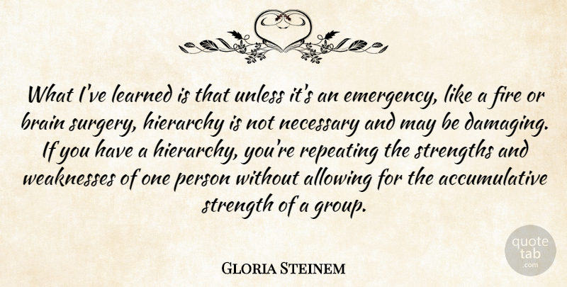 Gloria Steinem Quote About Allowing, Hierarchy, Learned, Necessary, Repeating: What Ive Learned Is That...