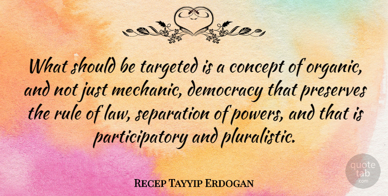 Recep Tayyip Erdogan Quote About Law, Democracy, Separation: What Should Be Targeted Is...