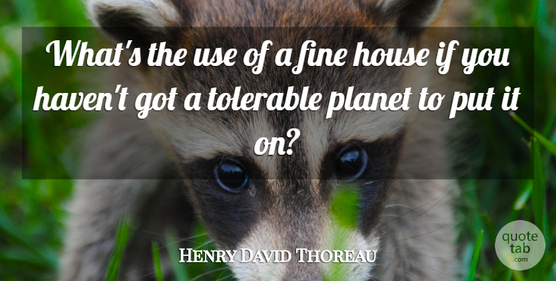 Henry David Thoreau Quote About American Author, Fine, House, Planet, Tolerable: Whats The Use Of A...