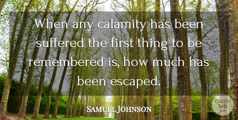 Samuel Johnson Quote About Suffering, Tragedy, Firsts: When Any Calamity Has Been...