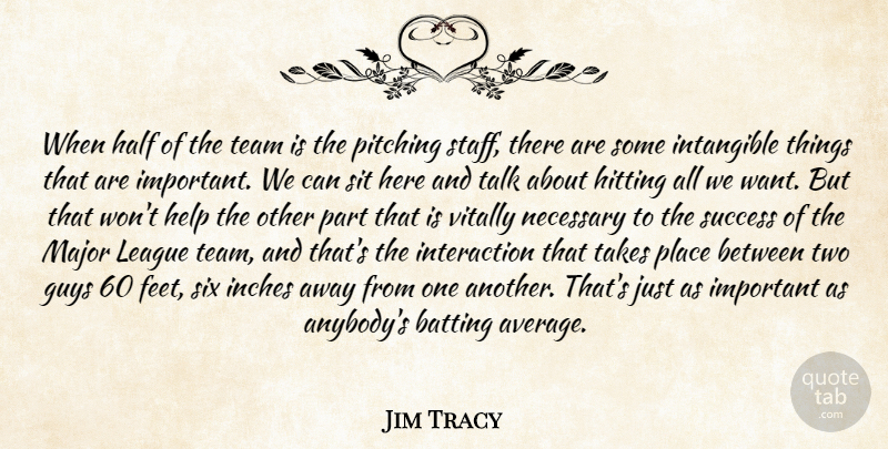 Jim Tracy Quote About Batting, Guys, Half, Help, Hitting: When Half Of The Team...
