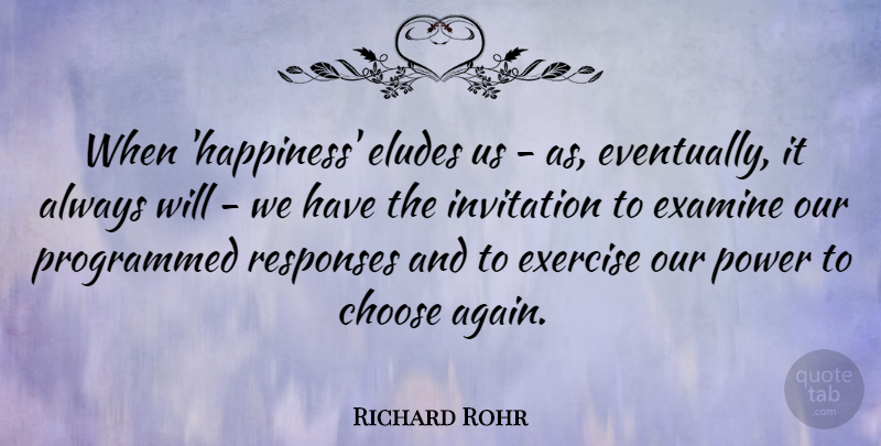 Richard Rohr Quote About Exercise, Elude Us, Response: When Happiness Eludes Us As...