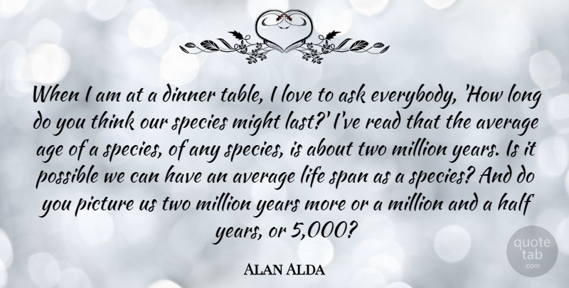 Alan Alda Quote About Age, Ask, Average, Dinner, Half: When I Am At A...