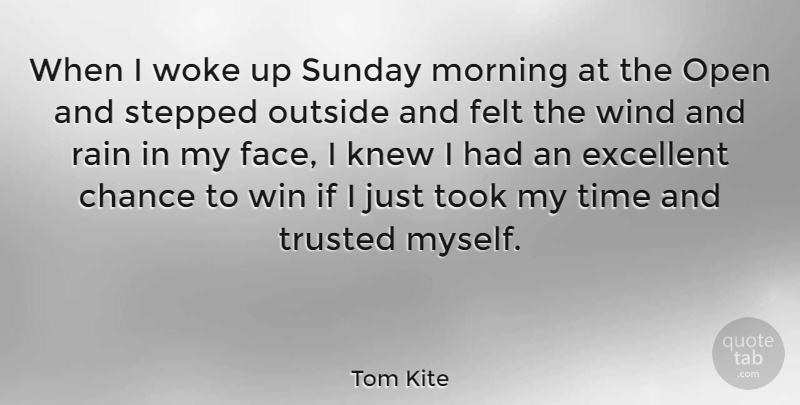 Tom Kite Quote About Sports, Morning, Rain: When I Woke Up Sunday...