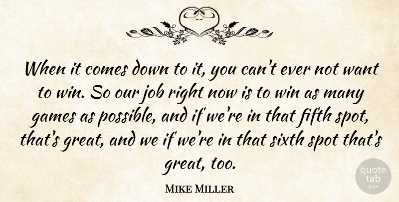 Mike Miller When It Comes Down To It You Cant Ever Not Want To