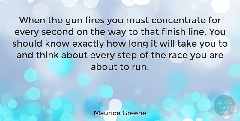 Maurice Greene Quote About Exactly, Fires, Race, Second: When The Gun Fires You...