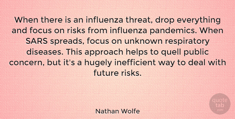 Nathan Wolfe Quote About Approach, Deal, Drop, Future, Helps: When There Is An Influenza...