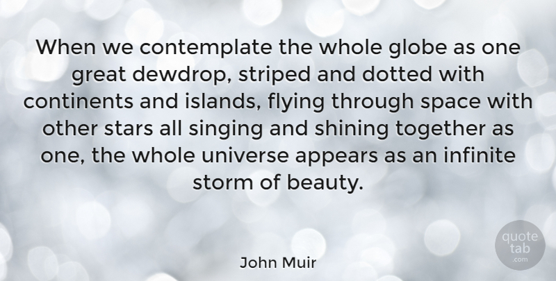 John Muir Quote About Beauty, Nature, Stars: When We Contemplate The Whole...