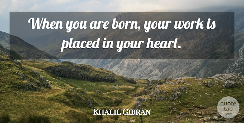 Khalil Gibran Quote About Heart, Born: When You Are Born Your...