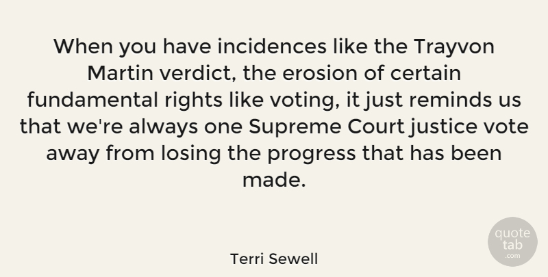 Terri Sewell Quote About Certain, Court, Erosion, Losing, Martin: When You Have Incidences Like...