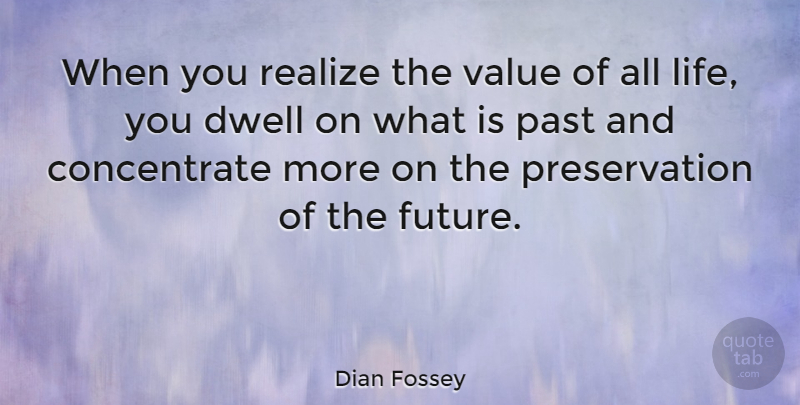 Dian Fossey Quote About Dwell, Future, Life, Realize, Value: When You Realize The Value...