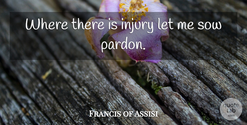 Francis of Assisi Quote About Madness, Injury, Pardon Me: Where There Is Injury Let...