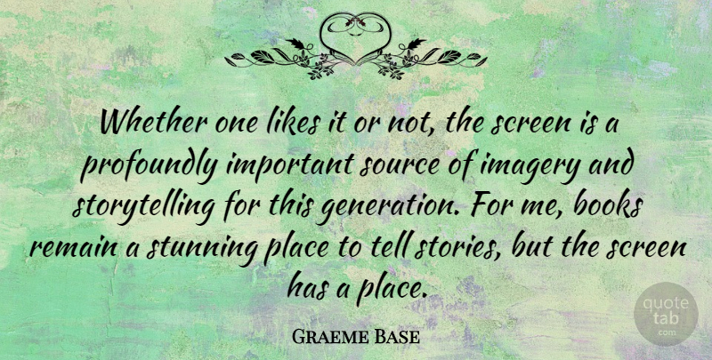 Graeme Base Quote About Likes, Profoundly, Remain, Screen, Source: Whether One Likes It Or...