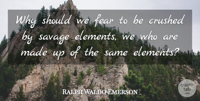 Ralph Waldo Emerson Quote About Nature, Elements, Savages: Why Should We Fear To...