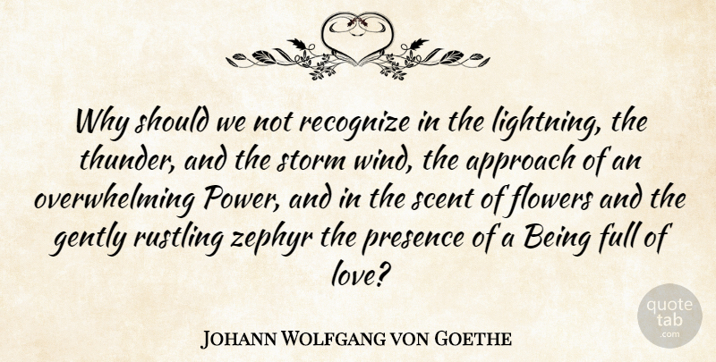 Johann Wolfgang von Goethe Quote About Love, Flower, Wind: Why Should We Not Recognize...